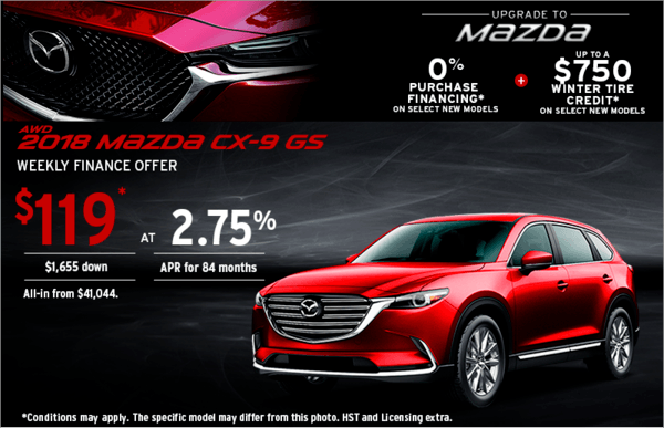 Upgrade to Mazda 2018 CX-9 Today!